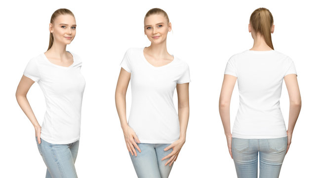 Set promo pose girl in blank white tshirt mockup design for print and concept template young woman in T-shirt front and side back view isolated white background