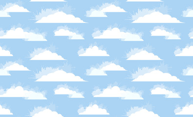 Seamless texture of white clouds with watercolor spray on blue sky. Vector childrens pattern for wallpaper, fabrics and your design