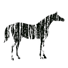 Grunge horse silhouette with black hand drawing artistic strokes texture. Vector art with charcoal abstract style. Equestrian sport illustration.