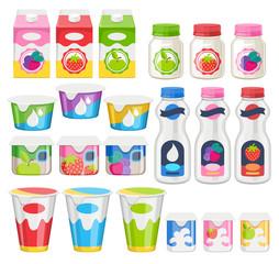 Yogurt packs icons set.