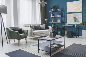 Green living room interior