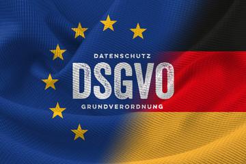 DSGVO Datenschutz-Grundverordnung EU Deutschland Gesetz 2018 Symbol Flagge