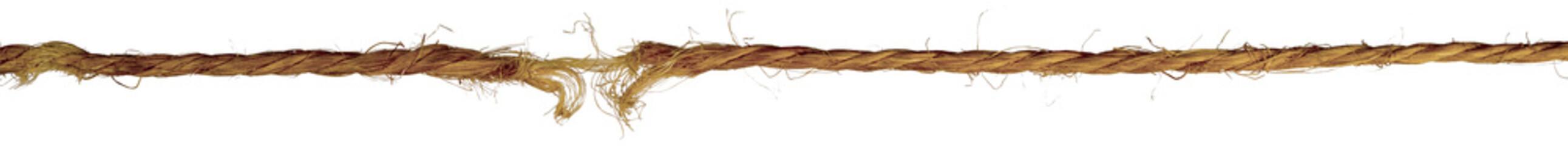old twisted frayed rope isolated on white background