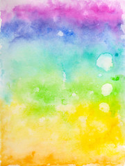 Creative texture for design. Vibrant hand painted watercolor background. Handmade overlay. Decorative chaotic colorful textured paper. Hand drawn bright artistic painting with blots.