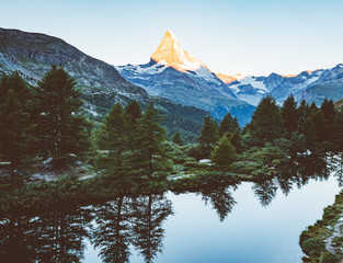 Scenic surroundings with famous peak Matterhorn. Location place Swiss alps, Grindjisee.