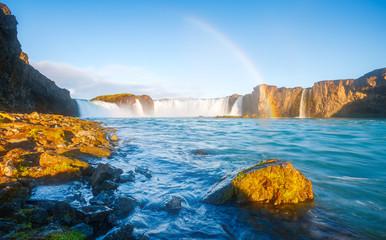 Magical view of powerful Godafoss cascade. Location Skjalfandafljot river, Iceland Europe.