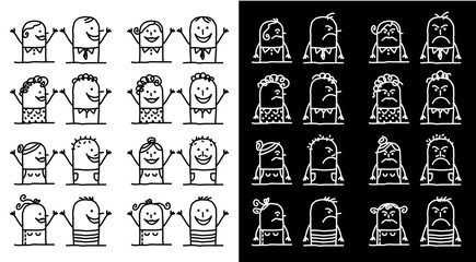 Cartoon Characters Set - Positive and Negative People