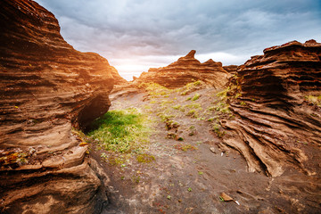 Wall Mural - Sandy rocks with by magma formed by winds. Location place Sudurland, Iceland.
