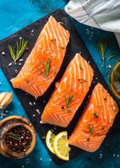 Fresh fish. Salmon fillet.