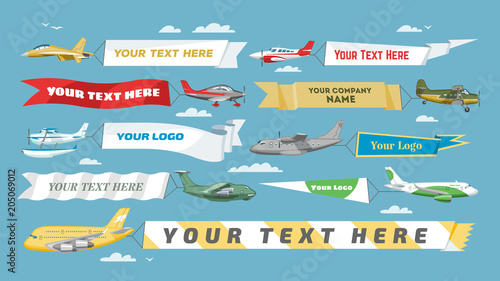 plane banner vector airplane or aircraft with blank message