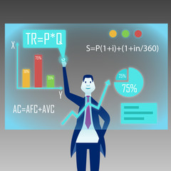 Businessman in suit works with virtual whiteboard on background