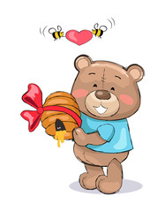 Male Teddy Bear in Blue T-shirt Holding Hive Honey