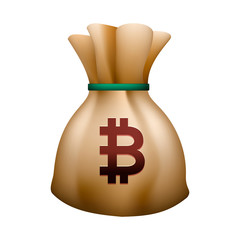 Money bag vector icon, moneybag with drawstring and bitcoin sign isolated on white background, vector illustration.