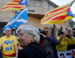 Catalunya's former Education Minister Clara Ponsati leaves the Sheriff Court in Edinburgh