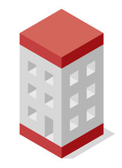 Vector cube shape evoking the rough construction of house. Minimalistic block like building from aerated concrete. Master isolated illustration, isometric construction industry icon symbol, whi