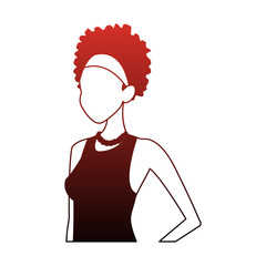 Young woman faceless cartoon with casual clothes vector illustration graphic design