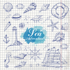 Isolated sea objects on paper background. Shells, starfish, anchor, lighthouse, fish, ship