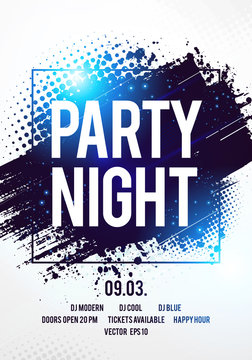Vector illustration club disco party night flyer dancing event template with colorful background and space for text