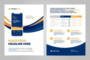 Layout template design with Mobile application. Business brochure flyer design layout.