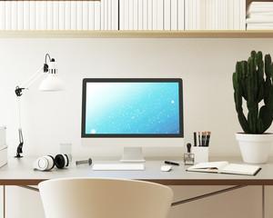 Computer Monitor Mockup. Blick auf Schreibtisch