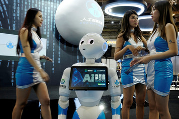 A booth promotes an AI gaming concept at Gaming Expo Asia in Macau