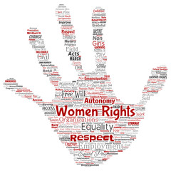 Vector conceptual women rights, equality, free-will hand print stamp word cloud isolated background. Collage of feminism, empowerment, integrity, opportunities, awareness, courage, education concept