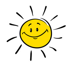 The sun. Cartoon image of the sun stylized as a child's drawing. Isolated on white background. Vector illustration.