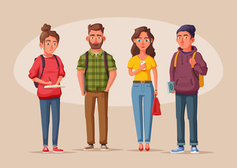 Happy students with books and gadgets. Cheerful, beautiful girls and guys Cartoon vector illustration