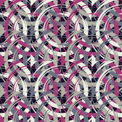 Polka dot seamless pattern. Circles in the square. Manual hatching. Brushwork. Scribble texture. Тextile rapport.