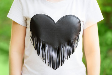 Women's T-shirt with a picture of the black heart