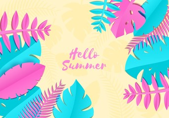 Summer Tropical palm leaves, plants in trandy paper cut style. Exotic blue pink leaves on yellow sunny background Hawaiian summer. Vector card illustration