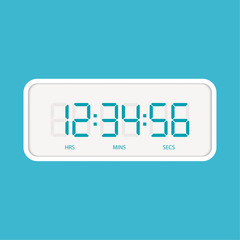 Digital clock and numbers. Vector illustration icon
