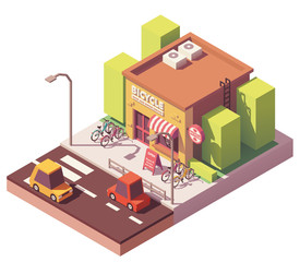 Vector isometric bicycle shop