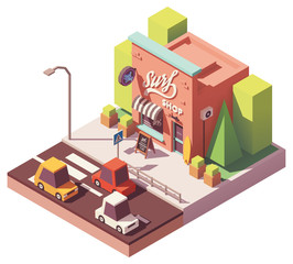 Vector isometric surf shop