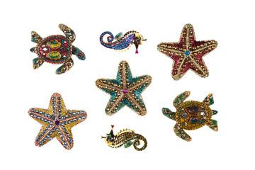 sea jewelery,white isolated background