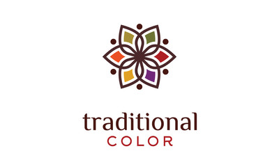 Traditional Asian Colorful Floral Pattern Logo design inspiration