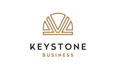 Line Art Keystone image logo design inspiration with initial K