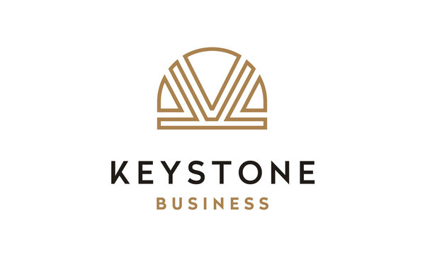 Initial Letter K Keystone logo with luxury golden line art style