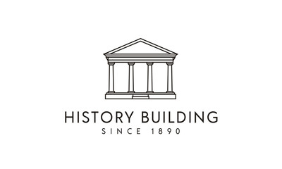 Government / Columns Historical Building with Line Art style logo design inspiration
