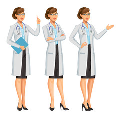 Doctor, woman with stethoscope, gesturing. Medical woman. Healthcare and medical concept. Vector Illustration,10 eps.