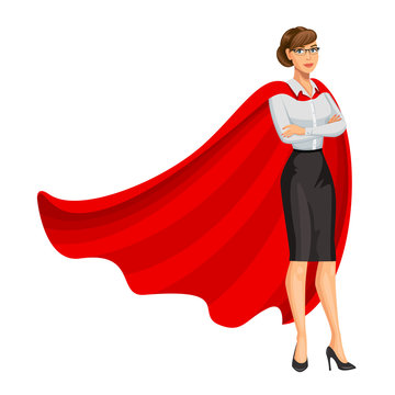 Superhero woman in red cape, female hero, businesswoman superhero. Girl in business style look. Professional Women. Success concept. Vector, 10 eps.