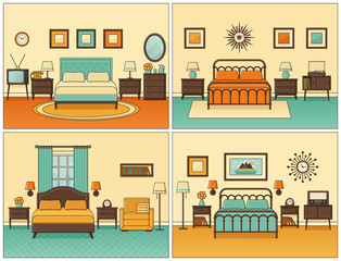Bedroom interior. Hotel rooms with double bed. Vector. Linear flat design illustration. Retro house furniture. Home space sketch in line art. Outline apartment. Set vintage backgrounds 1950s 1960s