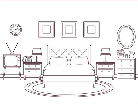 Bedroom interior. Hotel retro room with bed. Vector. Outline home space in line art flat design. House illustration 1960s. Linear background. Vintage apartment 1970s. Coloring page. Black white sketch