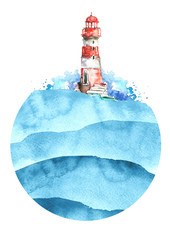 Watercolor illustration of lighthouse. Red and white colors, blue sea landscape. Art illustration, greeting card. Beautiful tower. Round element, logo,sticker