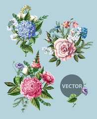Bouquets with peony, rose and wild flowers. Vector illustration.