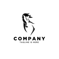 negative front head horse logo