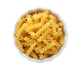 Bowl with uncooked fusilli pasta on white background, top view