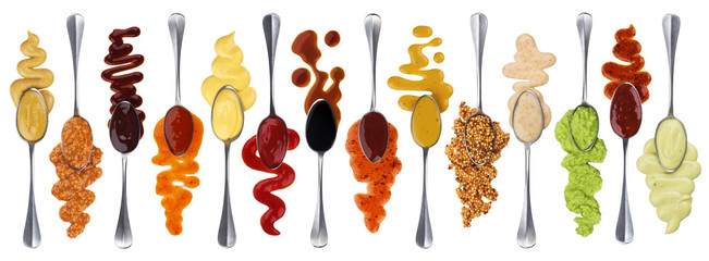 Foto op Plexiglas Kruiderij Set of different sauces with spoons isolated on white background