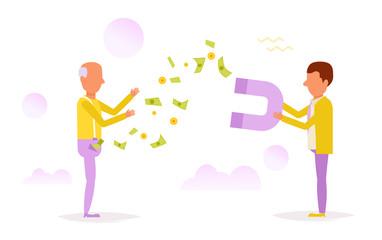Man magnetizes money.