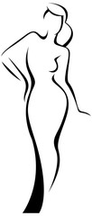 Vector silhouette of a girl template logo or an abstract concept for beauty salons, spa, cosmetics, fashion and beauty industry